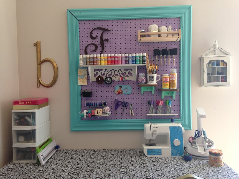 Craft Room Organization with Framed Pegboard