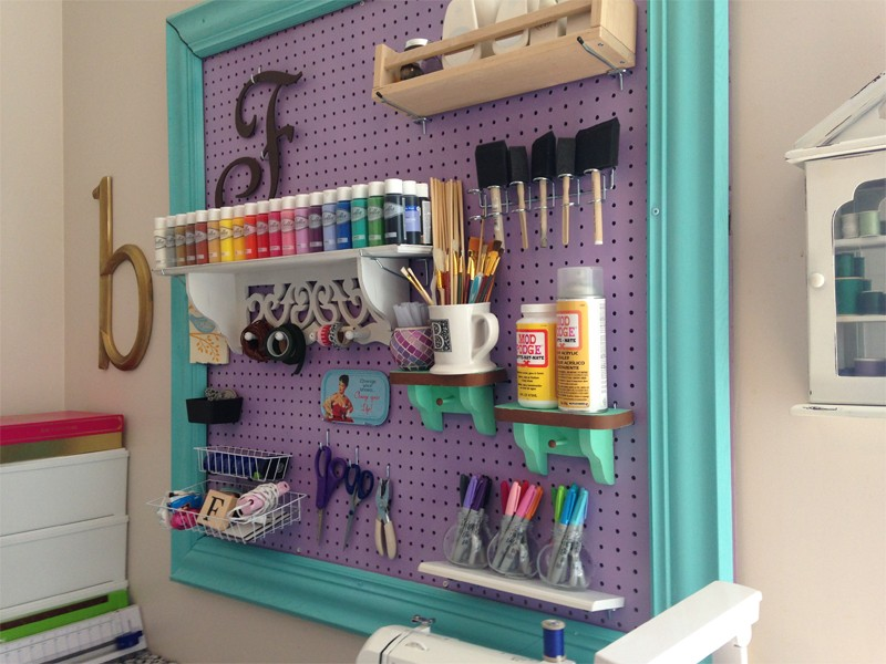 Craft Room Organization with Framed Pegboard 24
