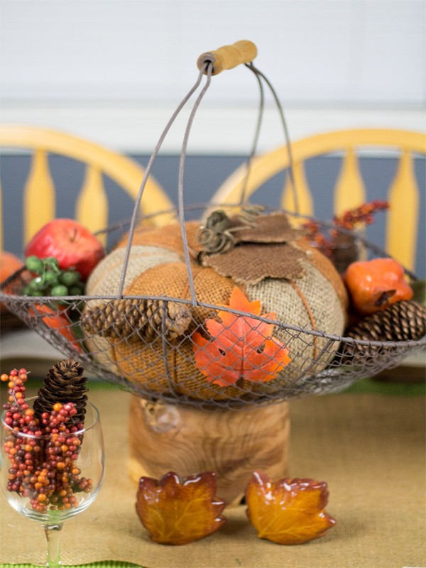 Burlap and Vintage Inspired Thanksgiving Tablescape 1