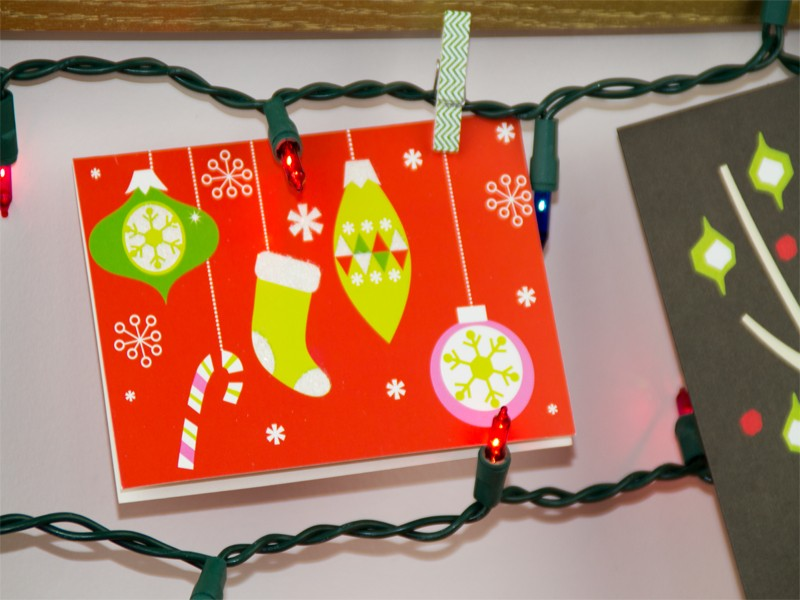 Framed Christmas Card Display with String Christmas Lights - Southern Couture