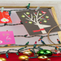 Framed Christmas Card Display with String Christmas Lights Featured Image