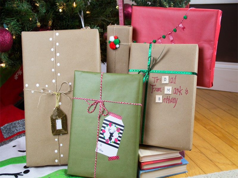 christmas gift wrapping ideas using kraft paper 15