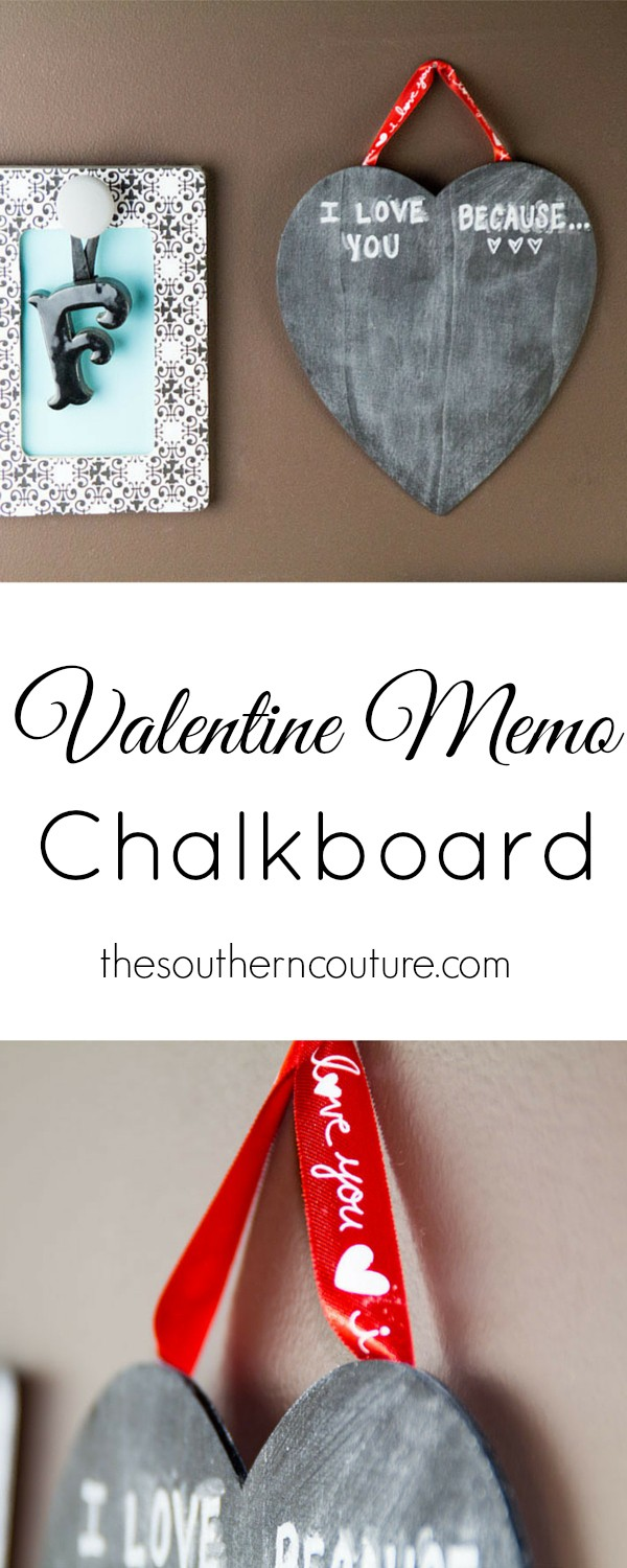 Now you can let your Valentine know just how special they are to you with this memo chalkboard. At thesoutherncouture.com, we like to remind that special someone why we love them.