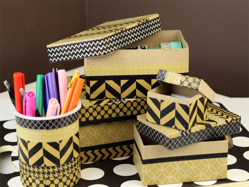 Diy desk organization using recycled items southern couture for Things to do with recycled items