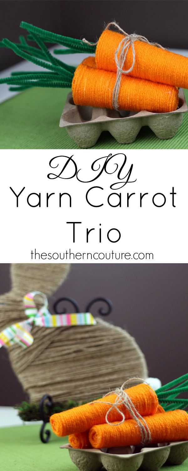 These yarn carrots are perfect not only for Easter but for Summer decor as well with  gardening and vegetable season being in full bloom. Come to thesoutherncouture.com to see what is underneath that yarn to hold them together.