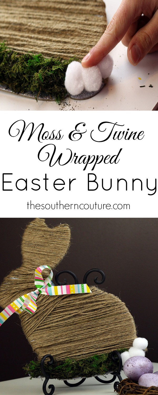You will never believe what this bunny looked like before. Come to thesoutherncouture.com and see what is wrapped under all that twine. A perfect decoration to use for not only Easter but Spring as well.