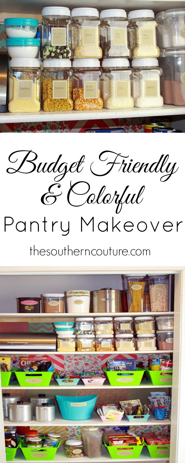 This pantry makeover was completed with items from the dollar store making it a real money saver that won't break the bank. You will definitely want to check out how I used scrapbook paper to brighten and add more color over at thesoutherncouture.com