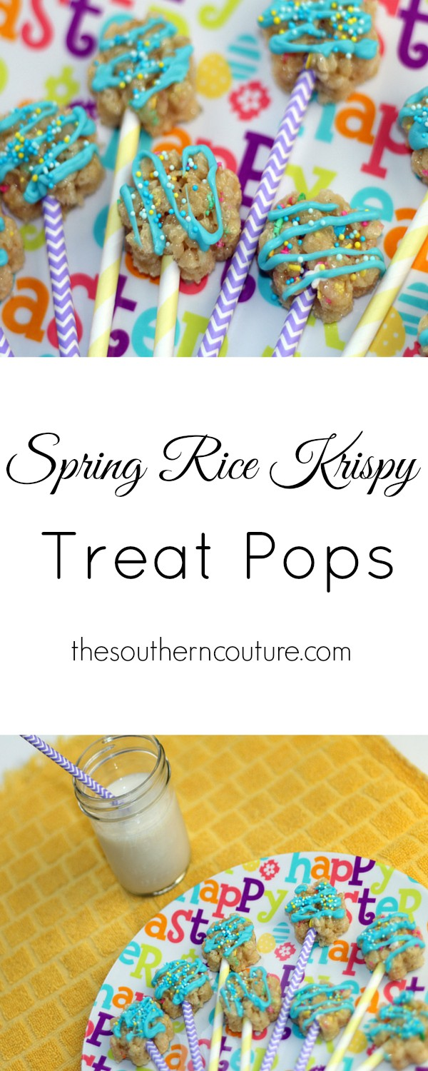 Get your kids in the kitchen and get them baking with you. Everyone will have fun making these rice krispy treat pops from thesoutehrncouture.com in an adorable flower pattern.
