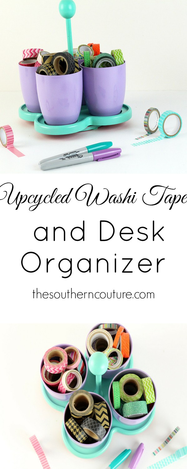 You won't believe what this organizer looked like before. Just add some spray paint and now you have a brand new way to store washi tape and come find out what else at thesoutherncouture.com.