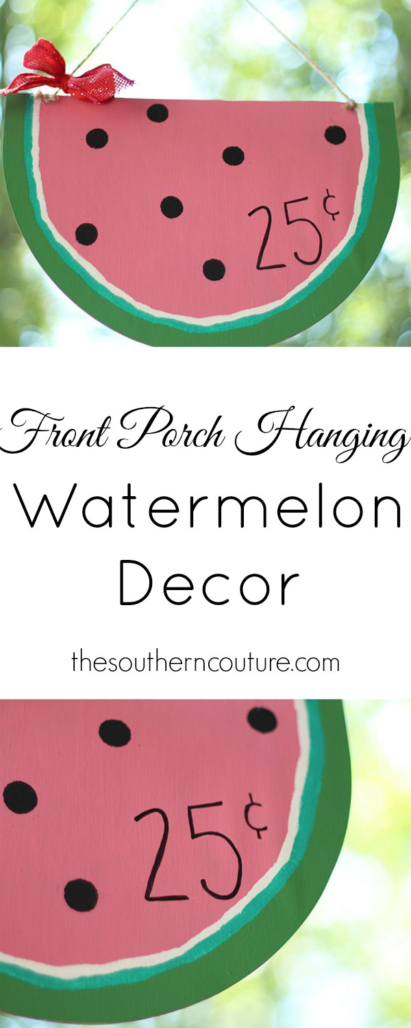 Make your own summer decor with this hanging watermelon decor. It is perfect for your front porch too. See how easy it is at thesoutherncouture.com.