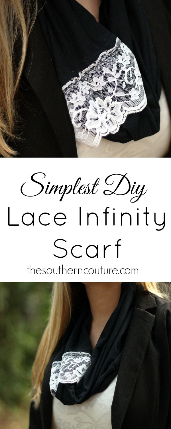 Go to your closet and transform an old t-shirt into a brand new lace infinity scarf. You can get the easy tutorial at thesoutherncouture.com that will only take a few minutes to make.