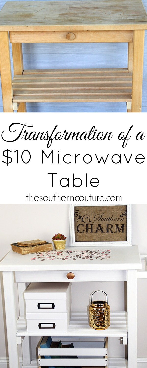 After buying this microwave table for only $10,  I couldn't help but transform it with a little paint and some stencils. Get all the details so you can start your own at thesoutherncouture.com.