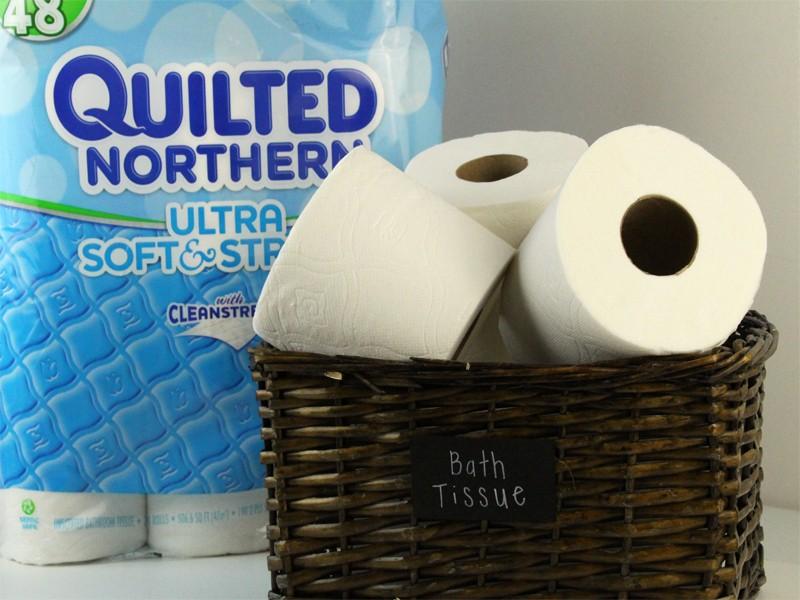 Bath Tissue Organizer with Chalkboard Label