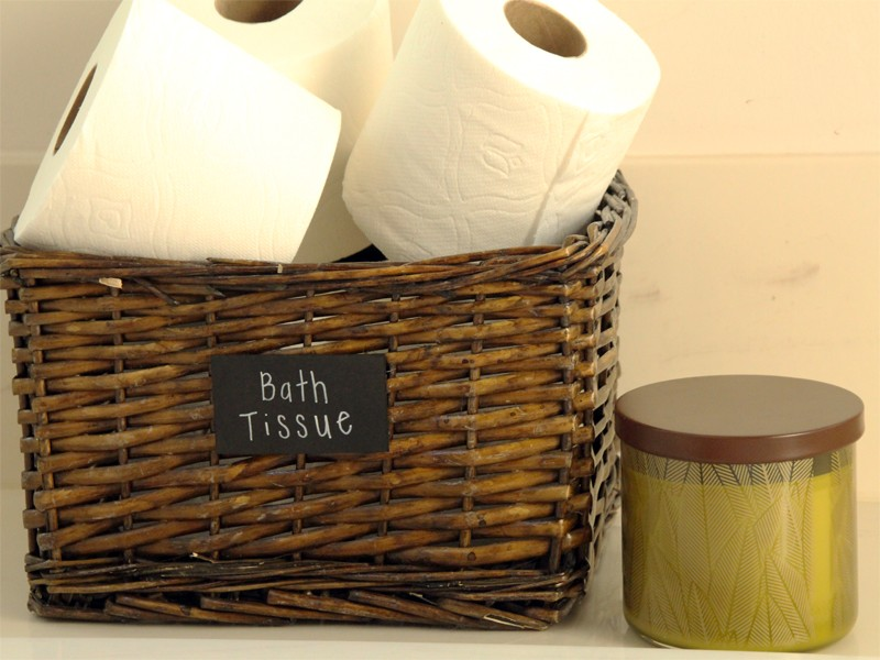 Bath Tissue Organizer with Chalkboard Label