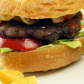 Smokin' Buffalo Burger Topped with Jalapeno Potato Chips