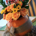 Rustic Pumpkin Centerpiece and Tablescape