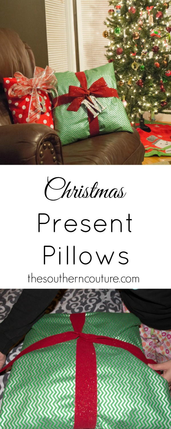 Don't ever throw away old pillows that are worn out. You can always cover them with fabric and reuse them. These pillows are transformed into presents with a no-sew tutorial from thesoutherncouture.com.