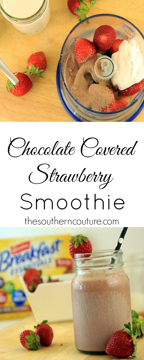 Blend yourself up a Chocolate Covered Strawberry Smoothie for breakfast to beat those sweet cravings. Plus who doesn't love chocolate covered strawberries? Now you can still enjoy the flavor. Get the recipe at thesoutherncouture.com.