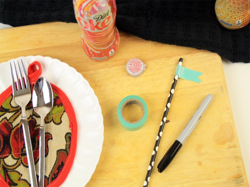 Personalized Place Settings Using Washi Tape and Paper Straws