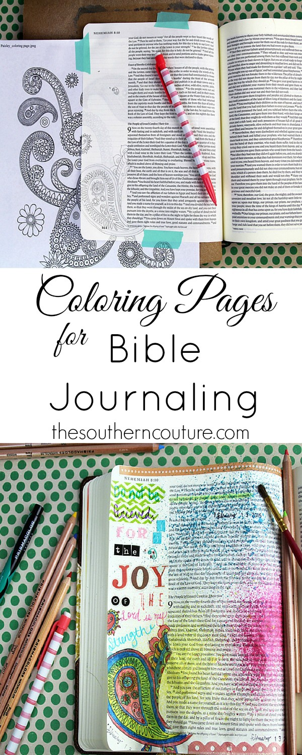 You don't have to be an artist to enjoy Bible journaling. Use coloring pages that are so popular right now and trace them onto your pages. Find out how to make this same entry at thesoutherncouture.com.