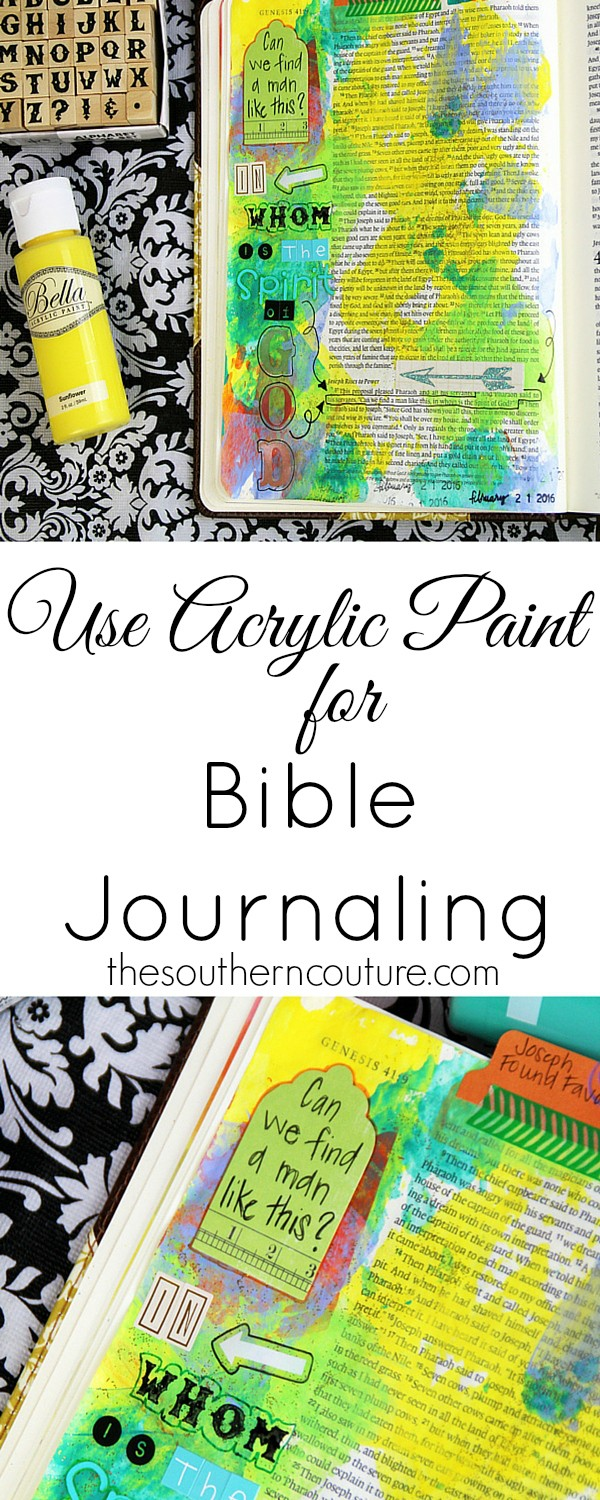 Your Bible pages have never looked so beautiful and colorful until now. Check out this simple technique to use acrylic paint on your pages that goes on smooth and light giving you the ability to still read the pages. Plus it doesn't bleed through. See the whole process of how you can too.
