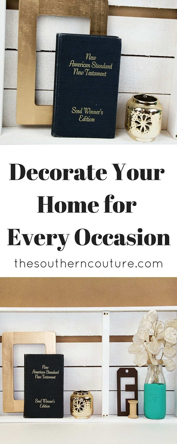 Overwhelmed with trying to decorate your home for every holiday? No longer feel burdened with the expense of gorgeous and over the top details. This wooden shelf idea is perfect to decorate no matter what occasion or holiday. Find out how you can too and get all the tips and pointers.