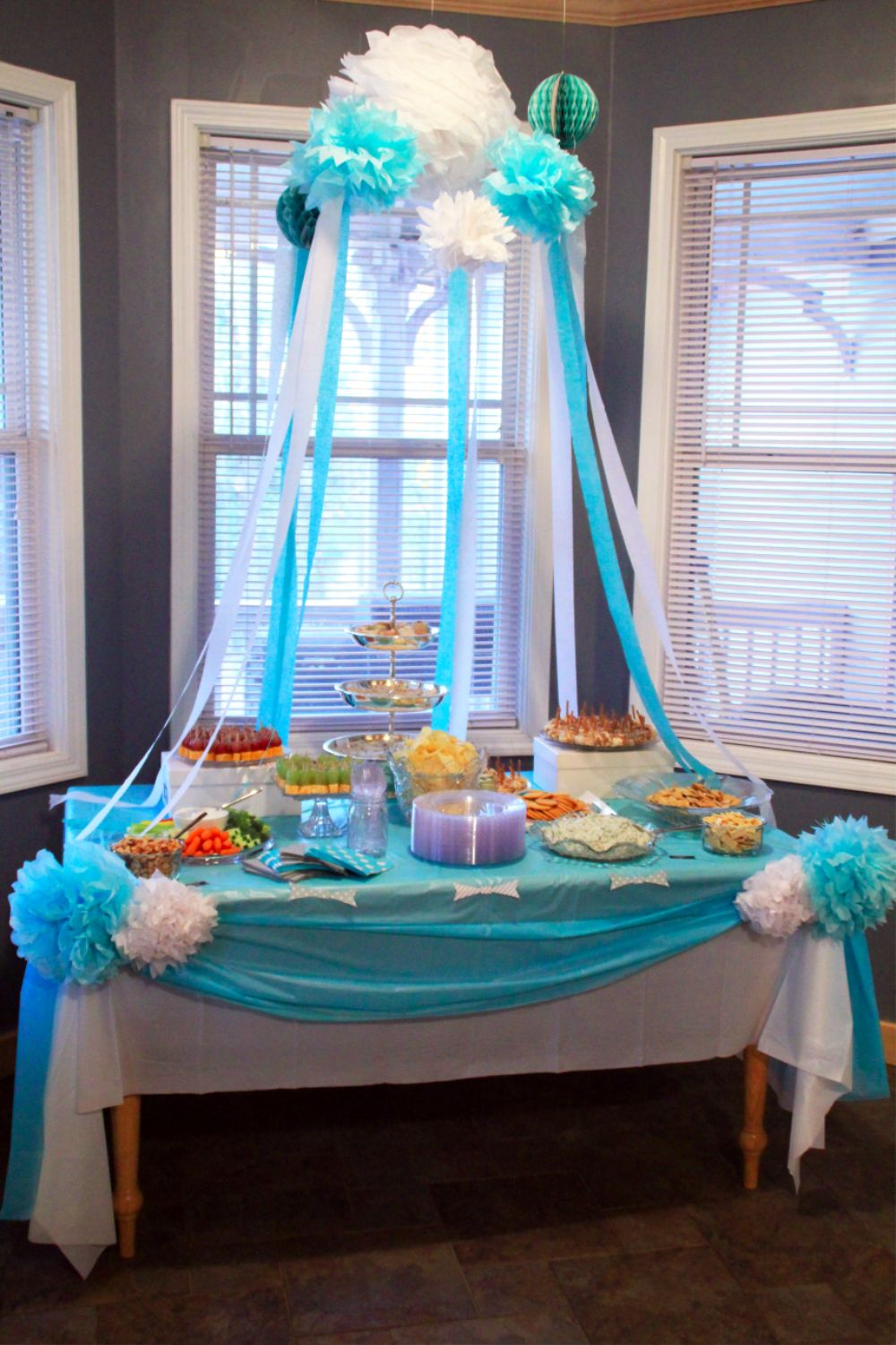 Baby shower decoration ideas southern couture for Baby shower ceiling decoration ideas