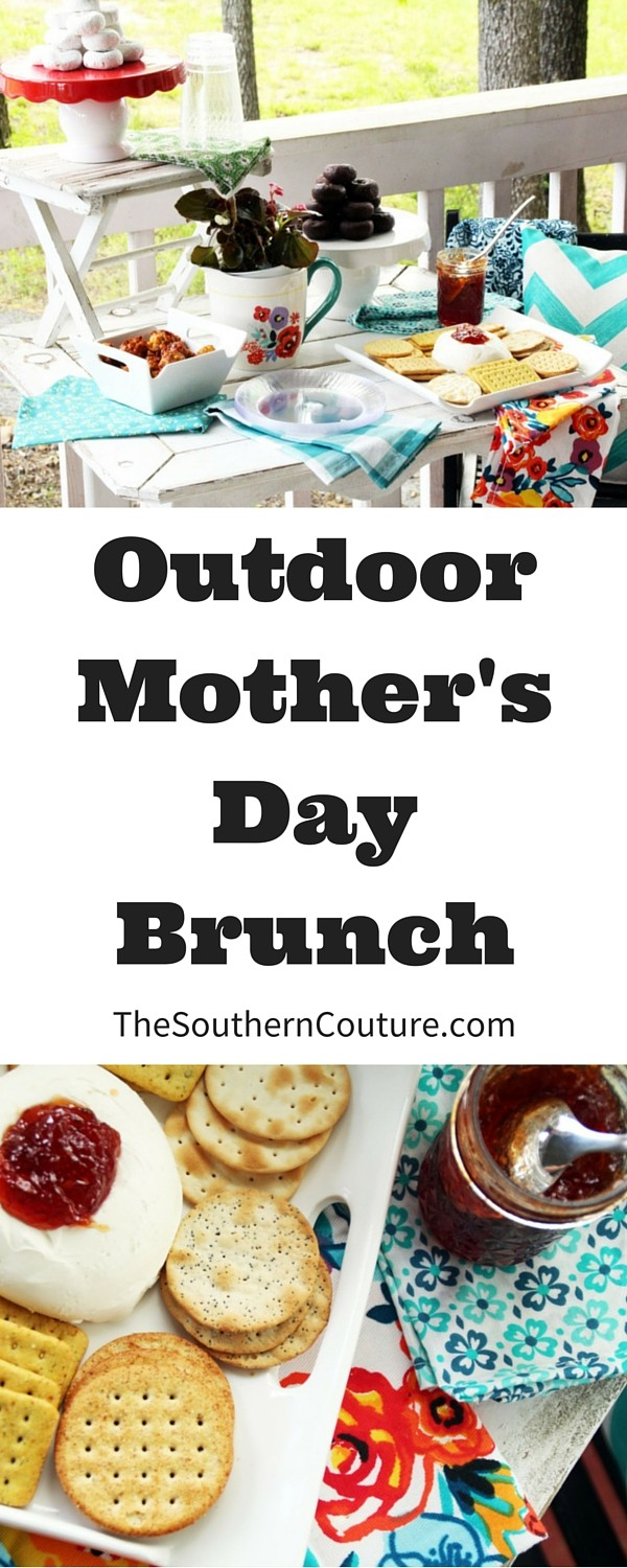 """Celebrate Mom this year with a gorgeous outdoor Mother's Day brunch. Add some """"fine china"""" and gorgeous linens for the perfect place setting."""
