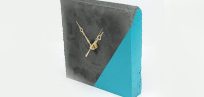 Concrete Clock with Color Blocking