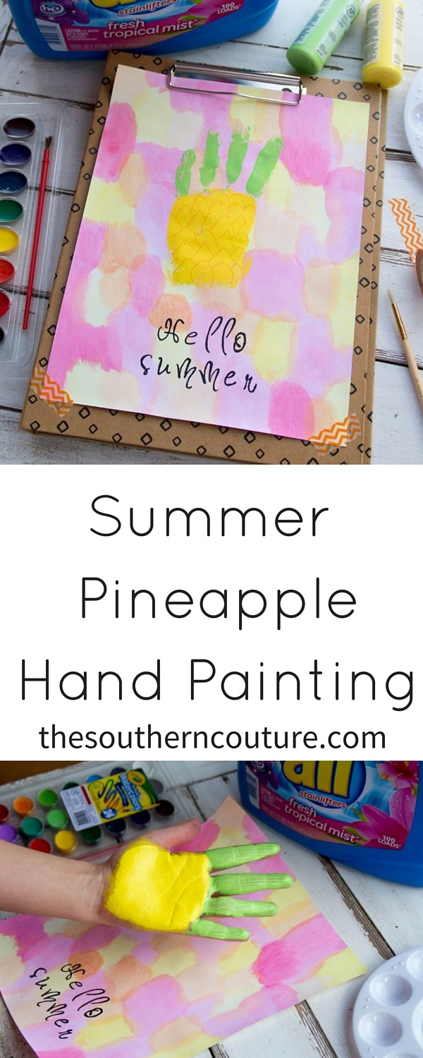 Your kids will love making this summer pineapple hand painting and getting outdoors. But don't worry about the mess. all® Fresh Tropical Mist™ has got you covered.