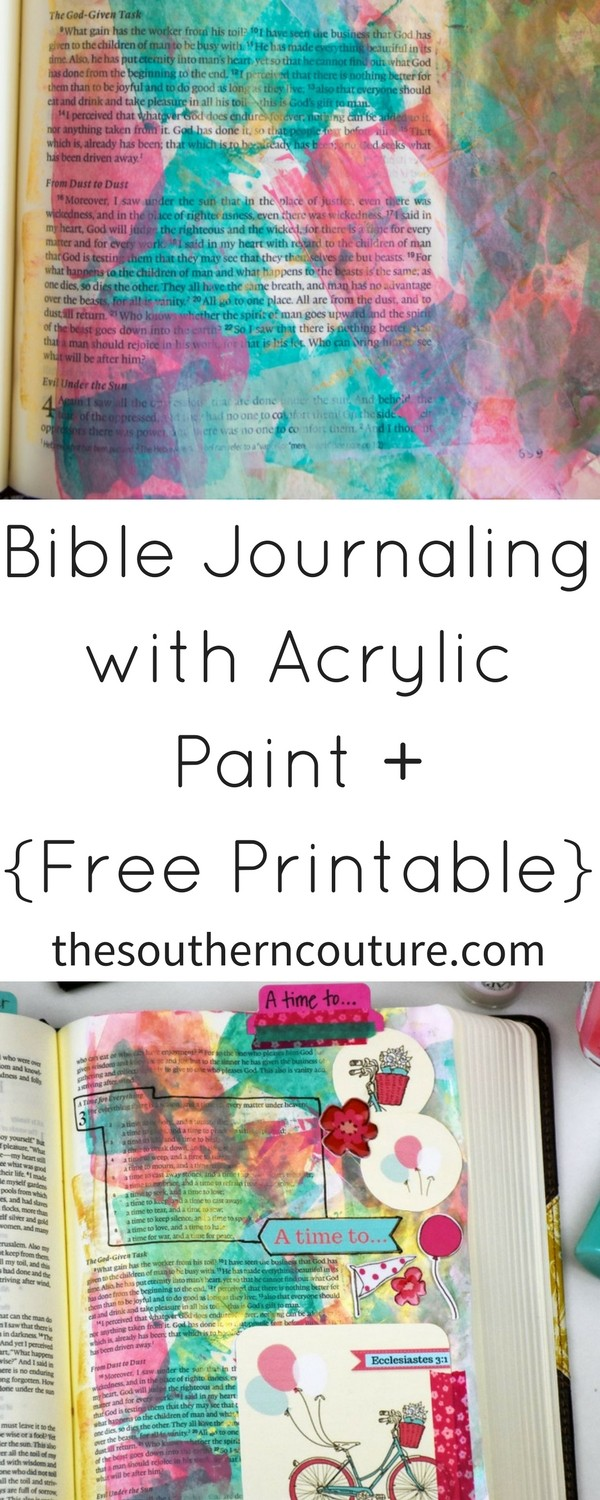 Brighten up the pages of your Bible with this colorful and gorgeous entry for Bible journaling with acrylic paint. The pages will look elaborate but yet so simple to make yourself.