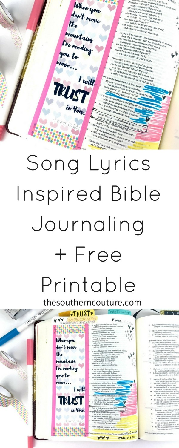 Grab this FREE song lyrics printable for Bible journaling inspired by Lauren Daigle. Take a simple printable and make a gorgeous entry in no time. It would also be perfect for a bookmark or in your planner. Print it now!