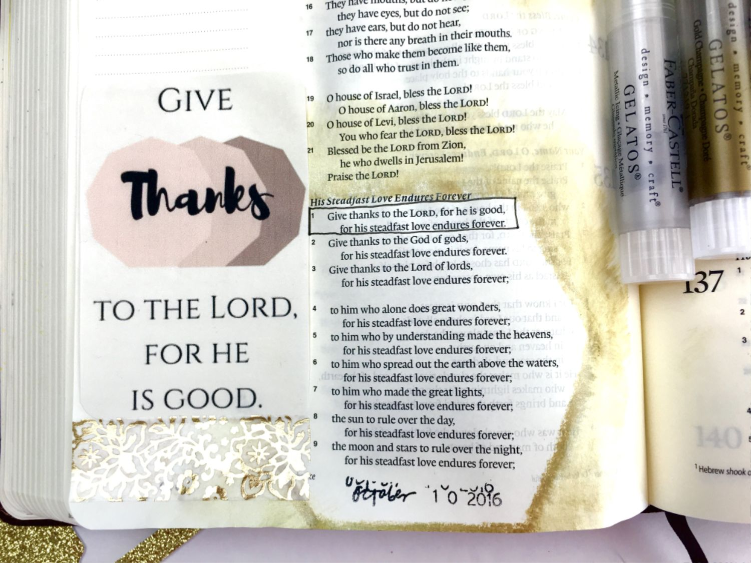 Give Thanks Free Bible Journaling Printable Psalm 136:1
