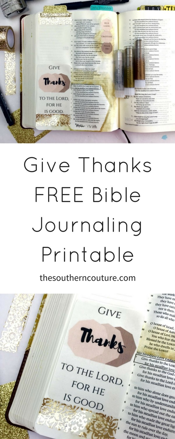 Grab this GIVE THANKS FREE Bible Journaling printable for your next entry or perfect to use for even your planner or to hang in a place you look at frequently. Get it NOW just in time for Thanksgiving.