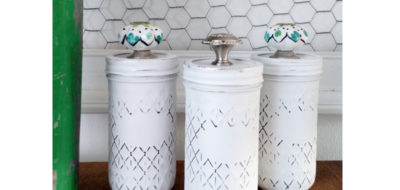 Mason Jar Canister Organization using Chalk Paint