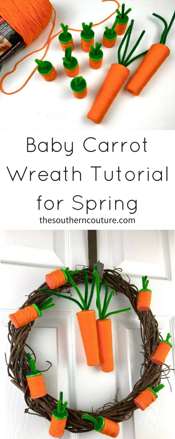 Dress up any door of your house with this baby carrot wreath tutorial for Spring made from upcycled empty spools of thread. Get the full tutorial and list of supplies NOW!