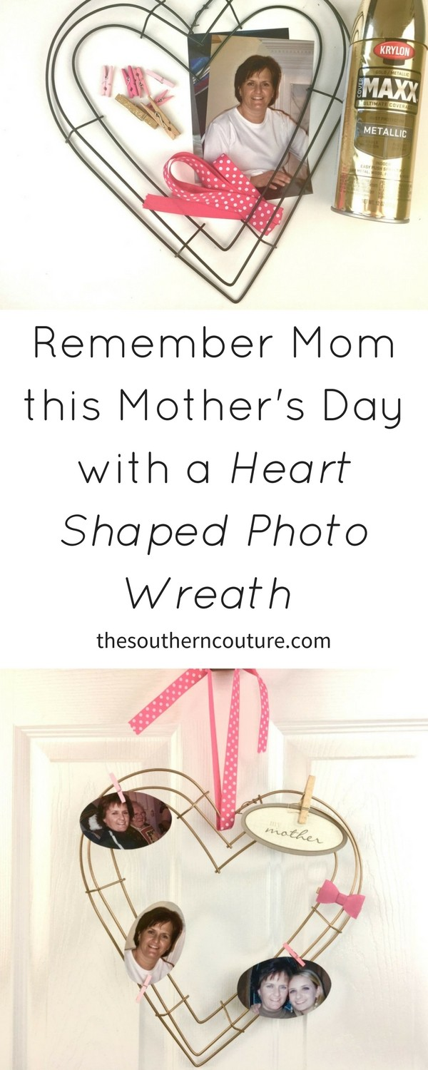 Remember Mom this Mother's Day with a heart shaped photo wreath that displays all the fun memories you had together. It is also perfect for a DIY gift.