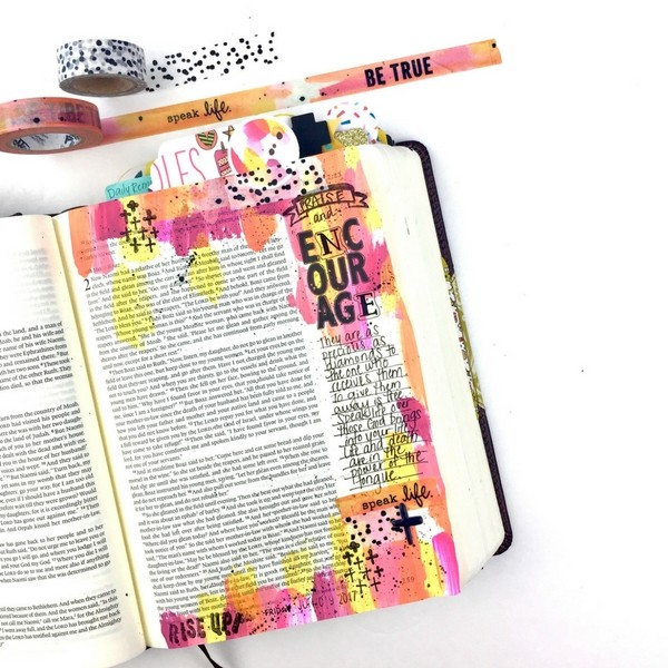 How to Use Acrylic Paint with Baby Wipe Technique for Bible Journaling