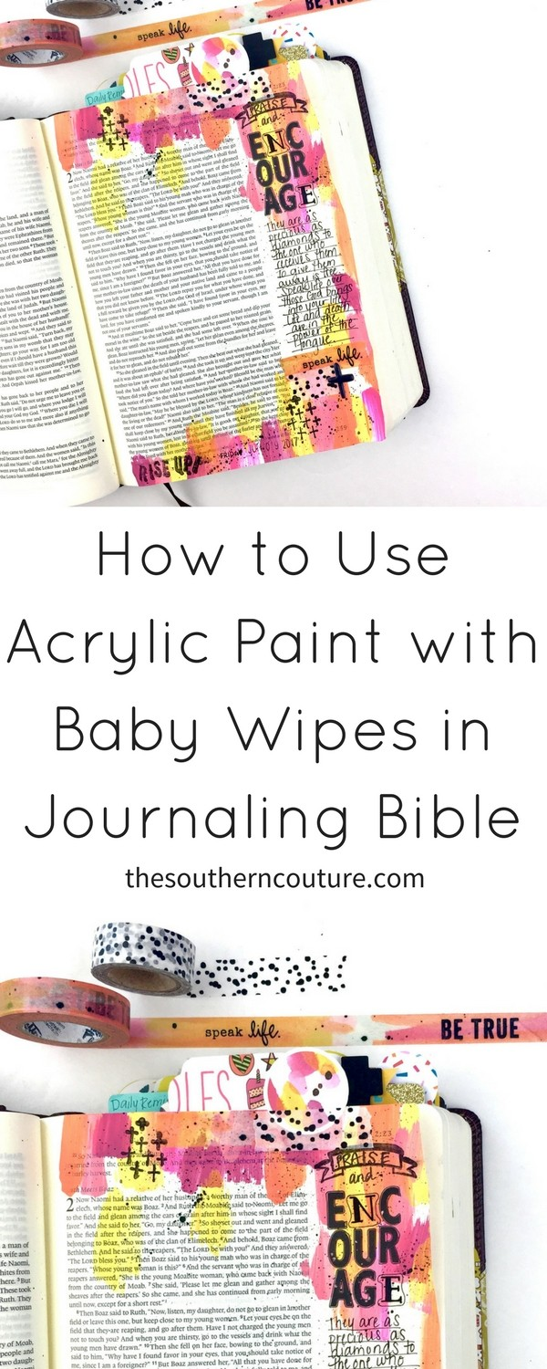 Learn how to use acrylic paint with baby wipe technique for Bible journaling with a few simple steps and techniques. Check out this step-by-step video now.