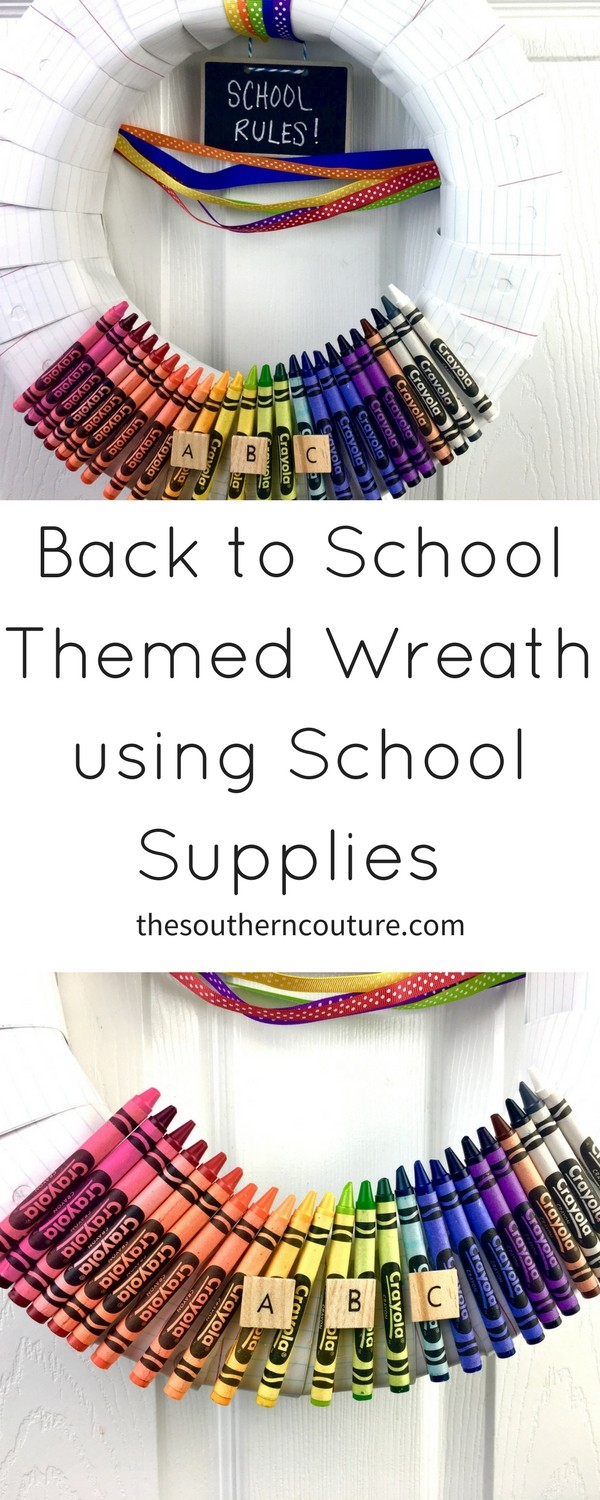 Kick off the next school year with a back to school themed wreath using school supplies that is perfect for a homework station or as a gift to your child's new teacher this year.
