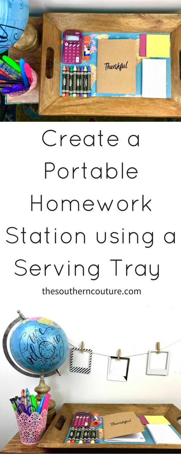 Get ready for the next school year when you create a portable homework station using a serving tray that can move around to any corner of your house.