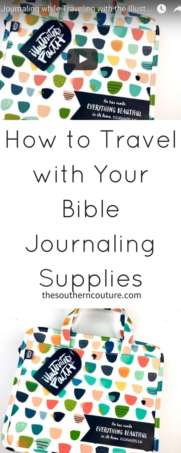 Make sure to enjoy Bible journaling when traveling with the Illustrated Faith organization bag which makes it easy to keep everything in one place.