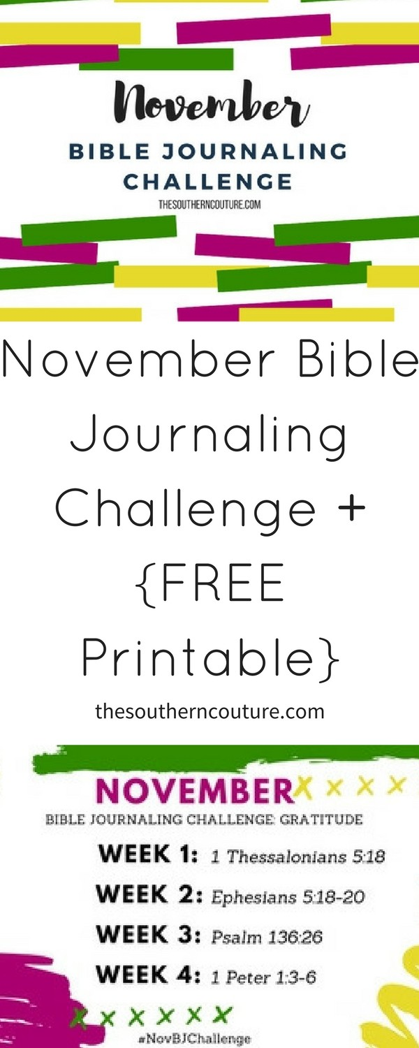 Join me this month for the daily gratitude challenge and also follow along using the November Bible journaling challenge plus FREE printable. Come print yours NOW!!