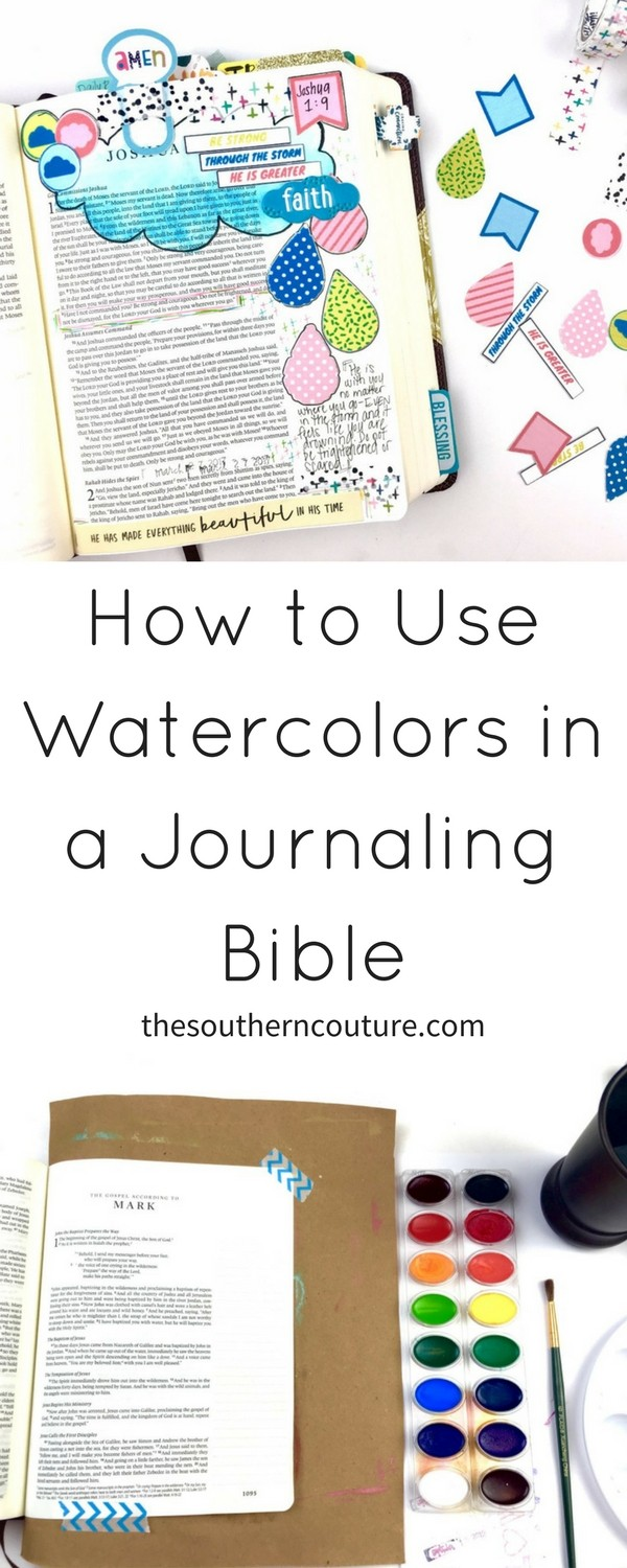 Learn how to use watercolors in a journaling Bible without ruining the pages even though they are quite thin. Try even prepping your Bible pages first.